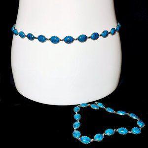 Vintage 70s Faux Turquoise Belt Long Necklace